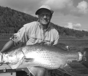 The author was impressed with the size and number of barramundi at Peter Faust Dam on a recent trip and caught this 107cm barra.